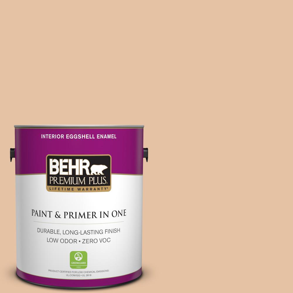 BEHR Premium Plus 1-gal. #260E-3 Pueblo Sand Zero VOC Eggshell Enamel Interior Paint