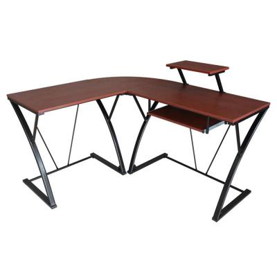 28 in. L-Shaped Brown/Black Computer Desk with Keyboard Tray