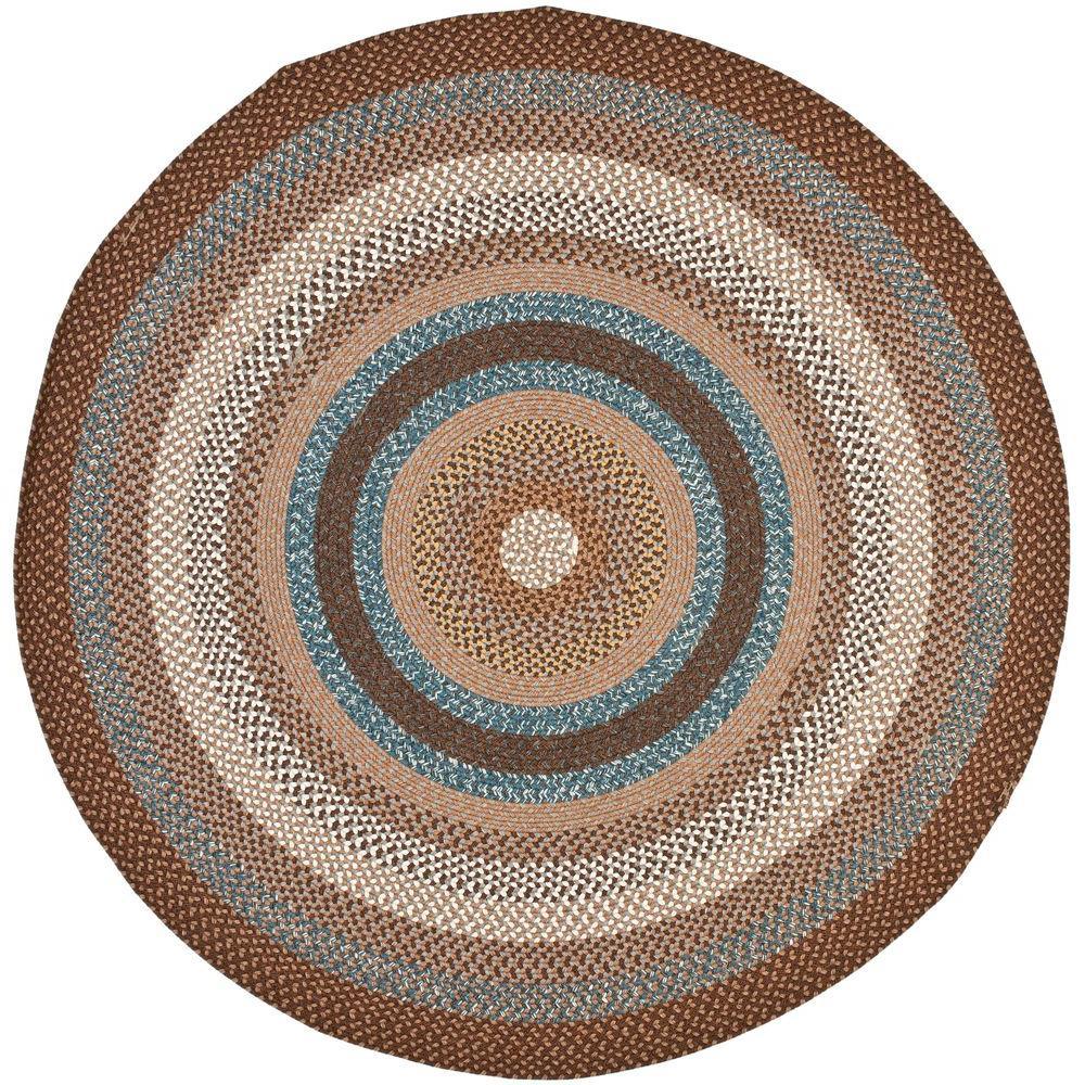 Round Kitchen Rugs: Safavieh Braided Brown/Multi 8 Ft. X 8 Ft. Round Area Rug