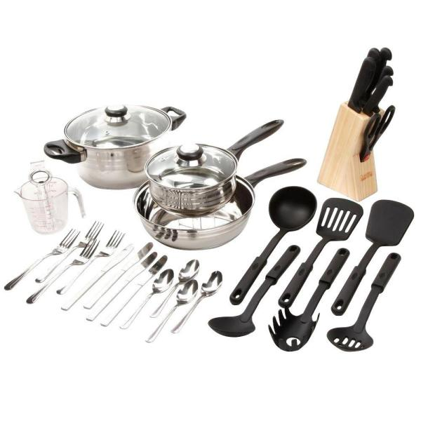 Gibson Lybra 32-Piece Stainless Steel Cookware Set with Lids 8911732