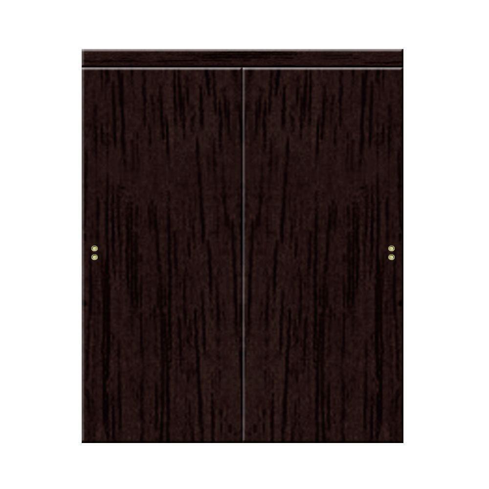 Impact Plus 72 in. x 80 in. Smooth Flush Solid Core Espresso MDF Interior Closet Sliding Door with Matching Trim