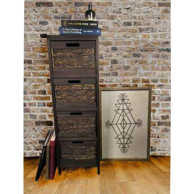 Gray Wood Storage Cabinet with 4 Wicker Baskets