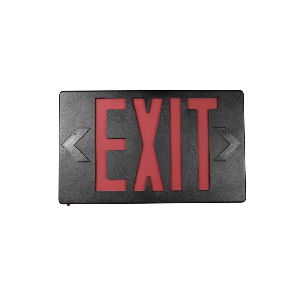 14-Watt Equivalent 120-Volt to 277-Volt Integrated LED Black Exit Sign with Ni-Cad 4.8-Volt