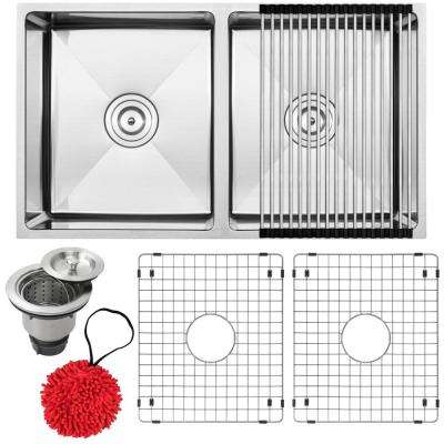 Pacific Undermount 16-Gauge Stainless Steel 31.25 in. 50/50 Double Basin Kitchen Sink with Accessory Kit