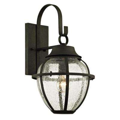 Bunker Hill 1-Light Vintage Bronze 18.25 in. H Outdoor Wall Mount Sconce with Clear Seeded Glass