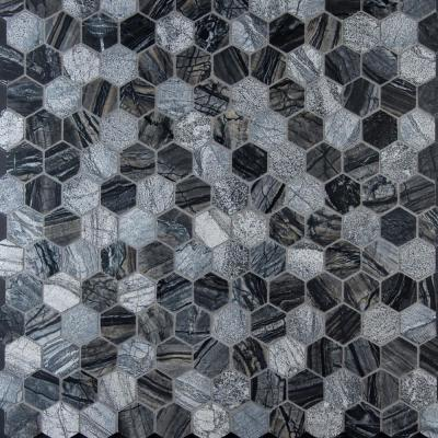 Henley Hexagon 12 in. x 12 in. x 10 mm Textured Marble Mesh-Mounted Mosaic Tile (10 sq. ft. / case)