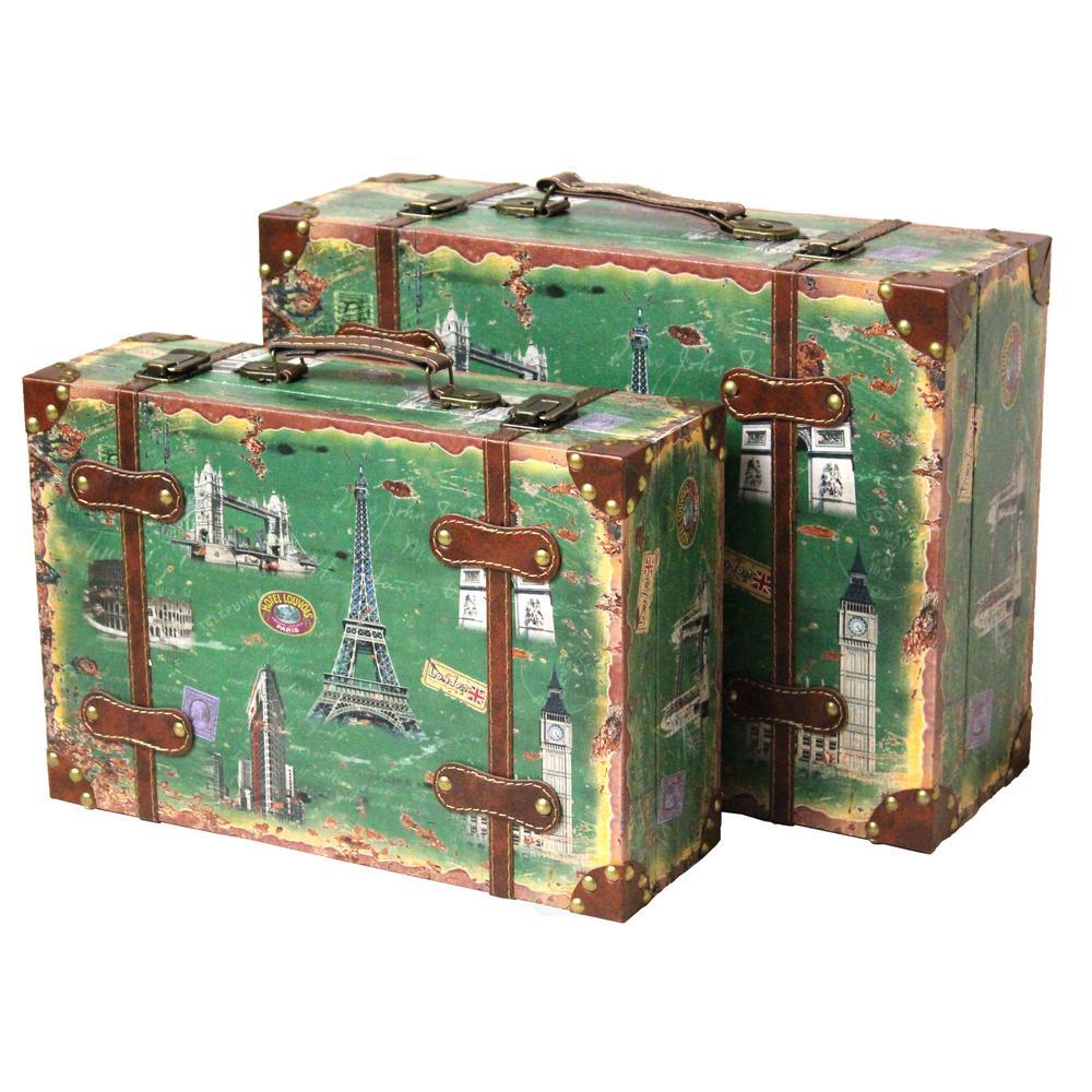 Vintiquewise Antique Green Trunk QI003086.2
