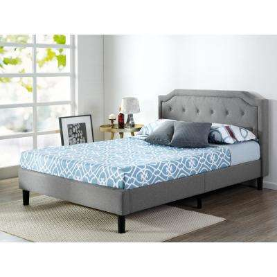 Scalloped Upholstered Dark Grey King Platform Bed Frame