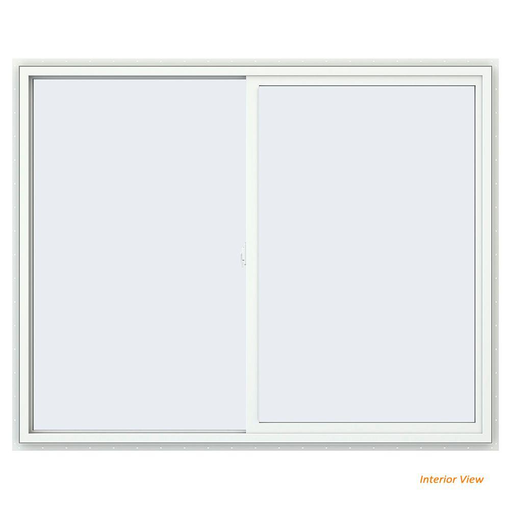 59.5 in. x 47.5 in. V-2500 Series White Vinyl Left-Handed Sliding Window with Fiberglass Mesh Screen