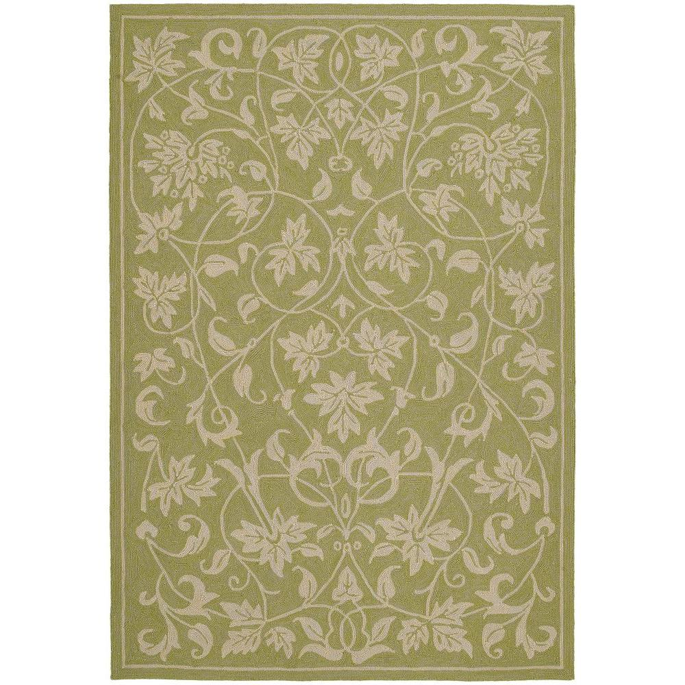 Indoor Outdoor Rugs Home Depot: Kaleen Home And Porch Presley Celery 7 Ft. 6 In. X 9 Ft