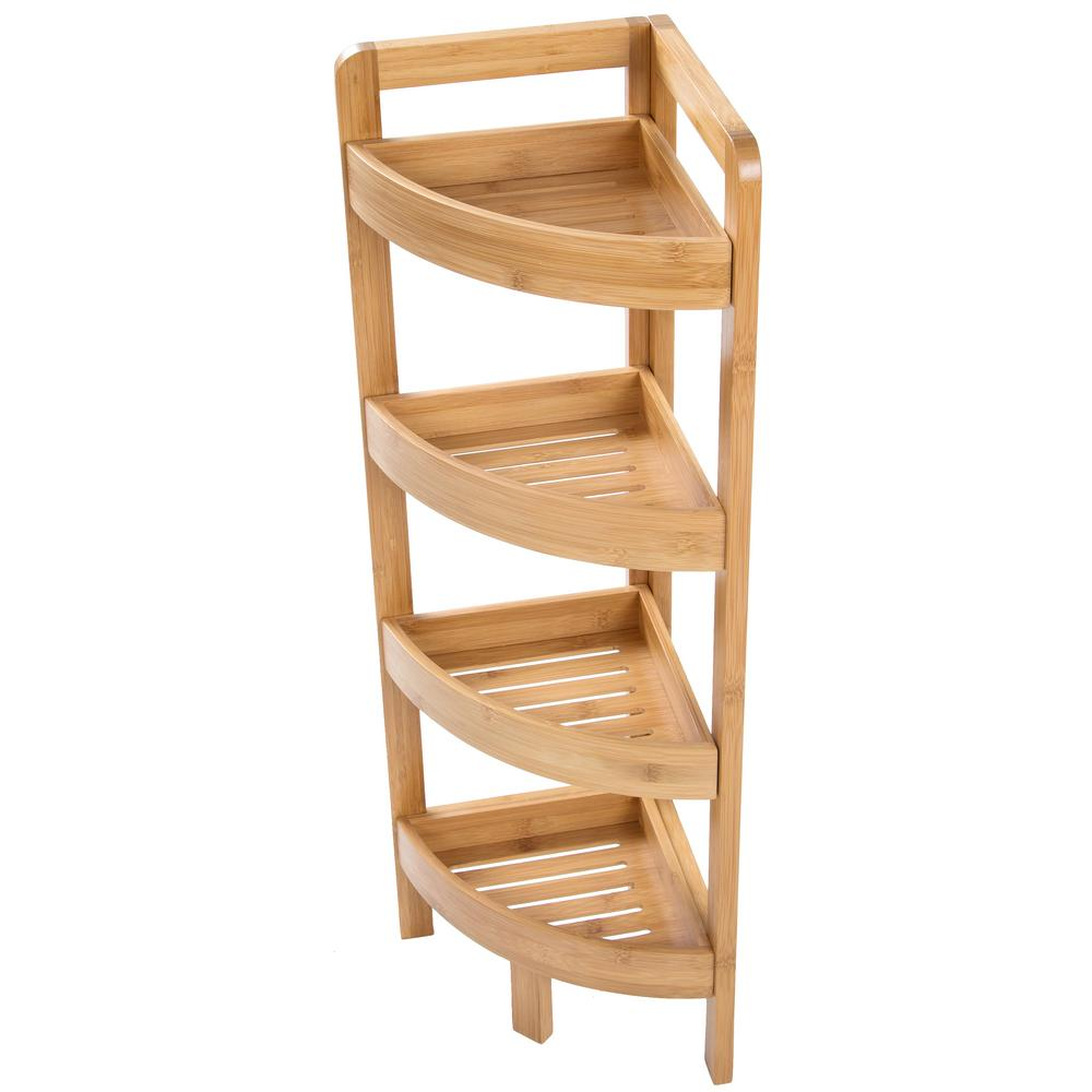 Trademark Innovations 31.5 in. H x 9 in. W 4-Tier Bamboo Corner Storage Shelf