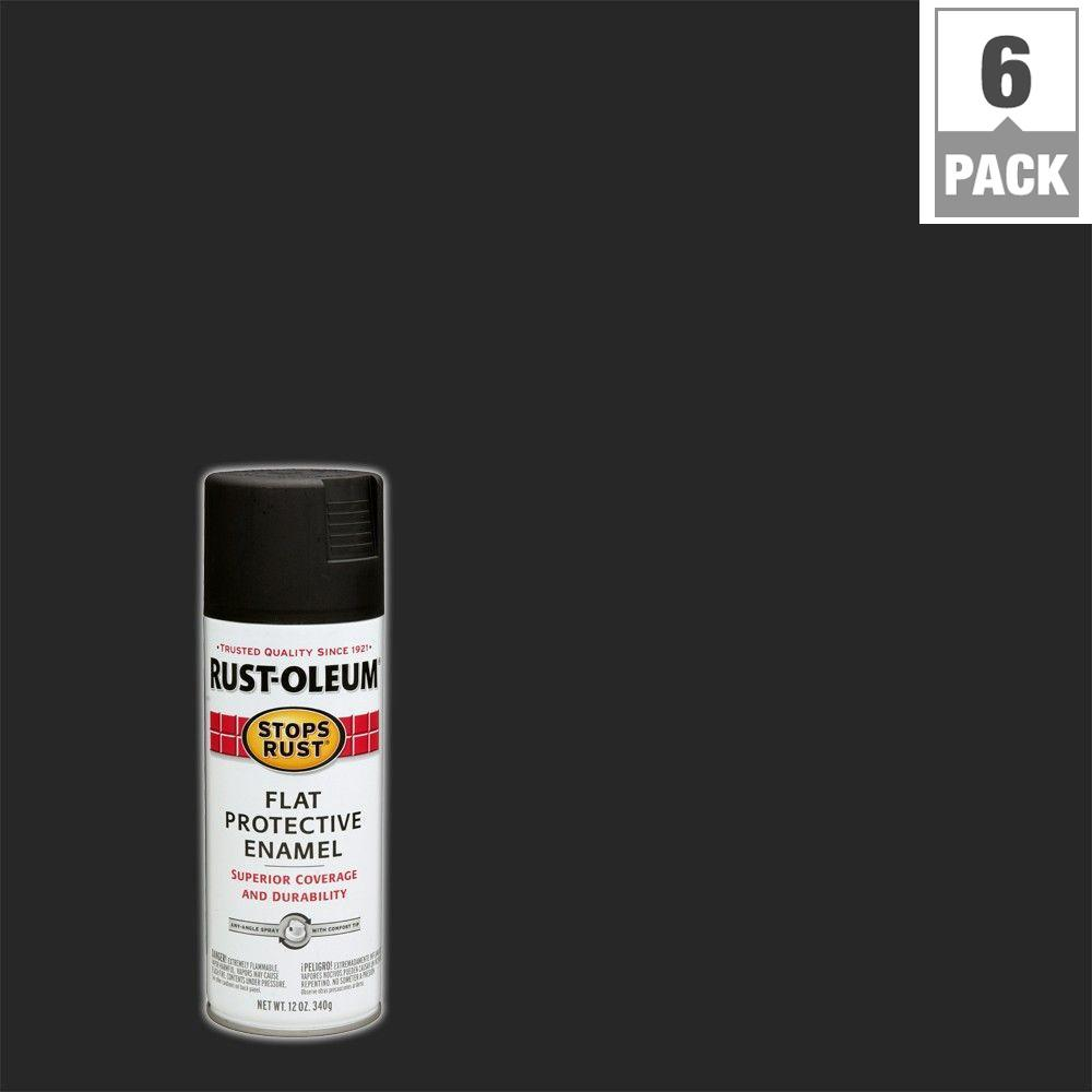 Rust-Oleum Stops Rust 12 oz. Protective Enamel Flat Black Spray Paint (6-Pack)