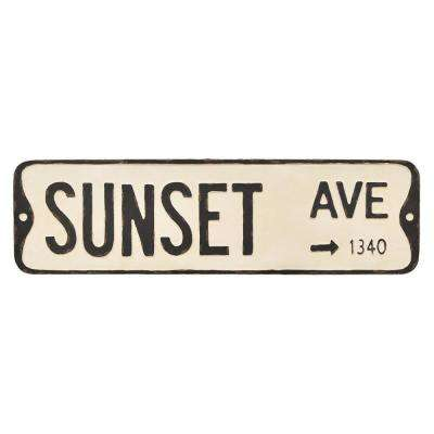 White Metal Novelty Sign-Sunset Ave