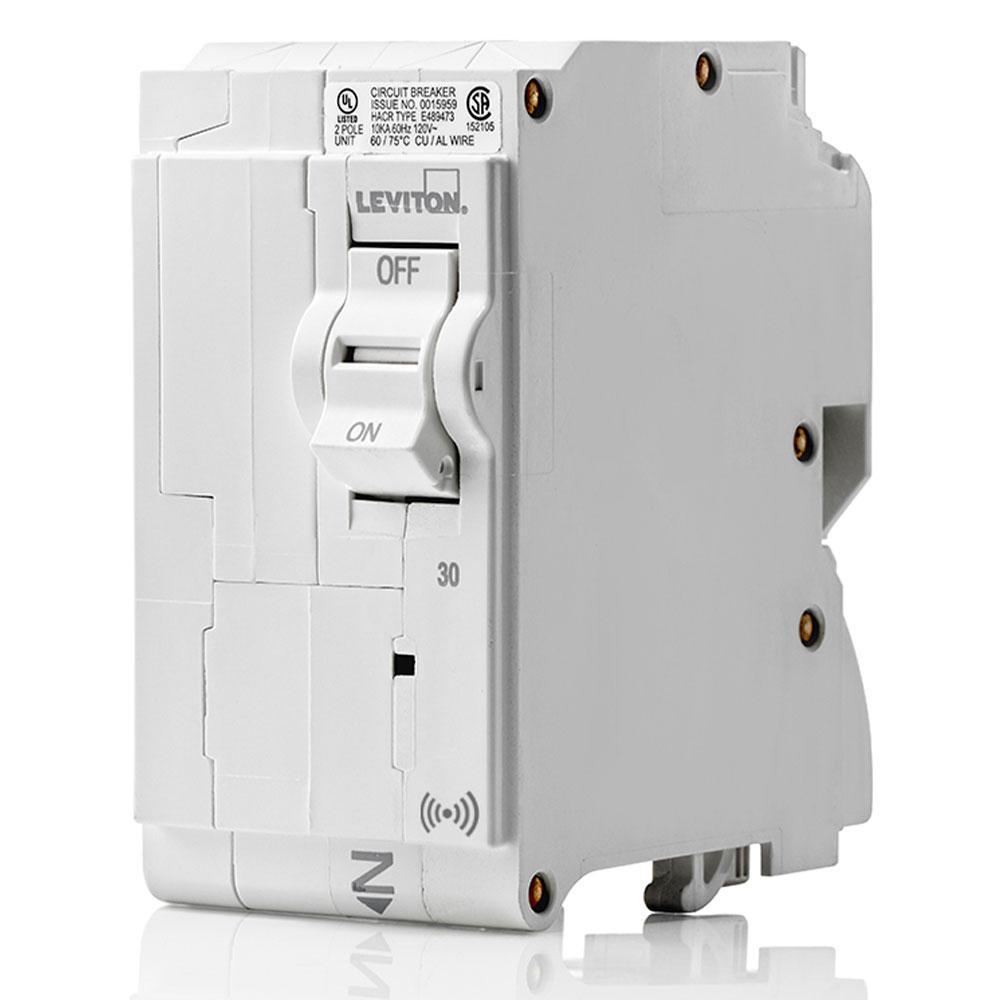 Smart Branch Circuit Breaker, Standard 2-Pole 30 Amp 120-Volt/240-Volt 10kA Interrupt Rating