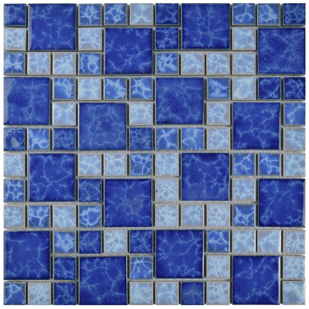 12x12 - Blue - Mosaic Tile - Tile - The Home Depot