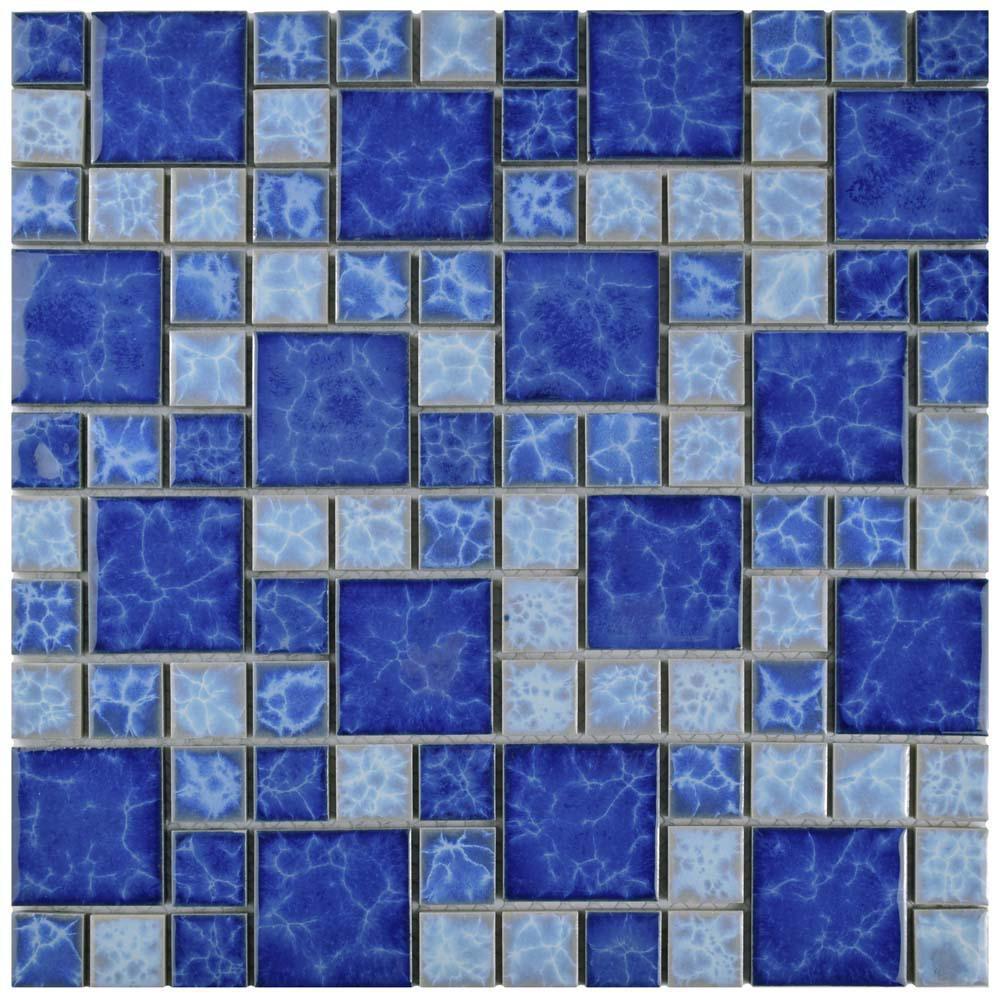 Watersplash Versailles Adriatic 11-3/4 in. x 11-3/4 in. x 6 mm Porcelain Mosaic Tile