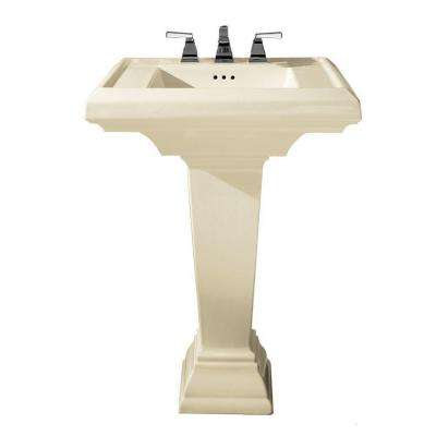 Town Square Pedestal Combo Bathroom Sink with 8 in. Faucet Centers in Linen