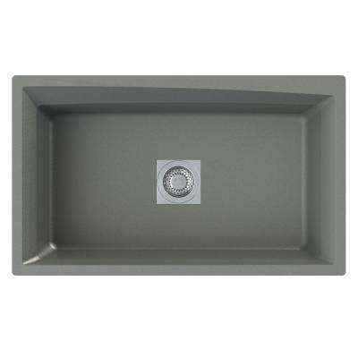 Genova Undermount Granite 33 in. Single Bowl Kitchen Sink in Grey