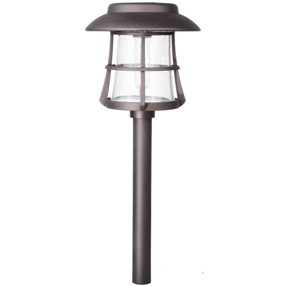 Hampton Bay Bronze Solar Led Pathway Outdoor Light 6 Pack: Hampton Bay Solar Bronze Diecast Outdoor Integrated LED