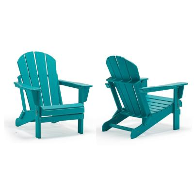 Addison Outdoor Folding Plastic Adirondack Chair (Set of 2)-Turquoise