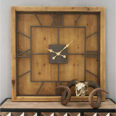 40 in. x 40 in. Brown Rustic Wooden Square Wall Clock