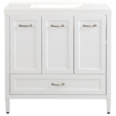Claxby 37 in. W x 22 in. D x 37 in. H Bath Vanity in White with Cultured Marble Vanity Top in White with White Sink