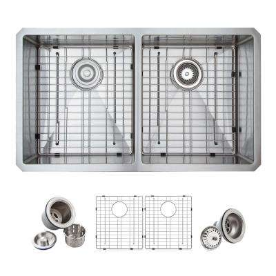All-in-One Undermount Stainless Steel 33 in. Double Bowl 50/50 Kitchen Sink in Satin