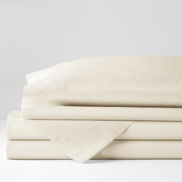 Company Cotton 4-Piece Ivory Solid 300-Thread Count Percale King Sheet Set