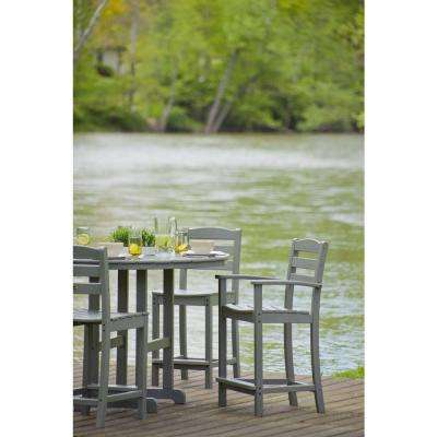 La Casa Cafe Slate Grey 5-Piece Plastic Outdoor Patio Counter Set