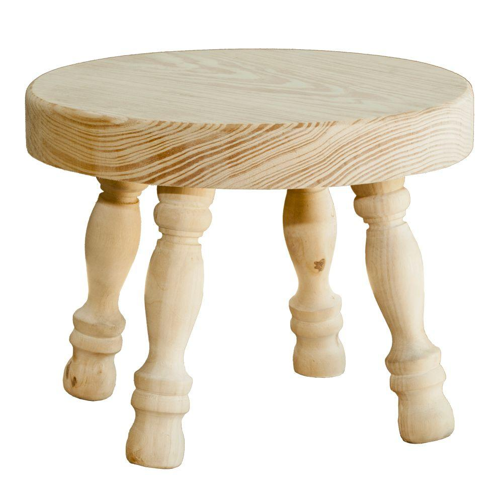 Houseworks Unfinished Wood Decor Round Stool with Turned Legs