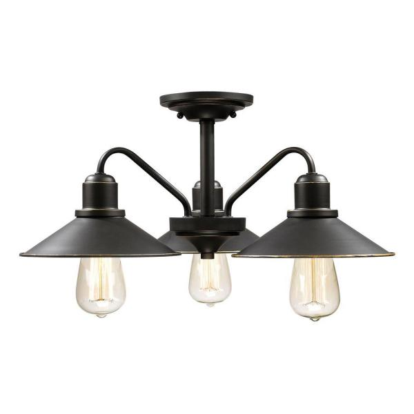 Niven 3-Light Bronze Modern Rustic Semi-Flush Mount with Old Bronze Glass Shades