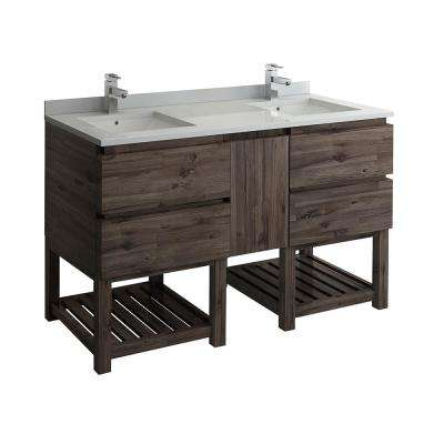 Formosa 60 in. Modern Double Vanity with Open Bottom in Warm Gray, Quartz Stone Vanity Top in White with White Basins