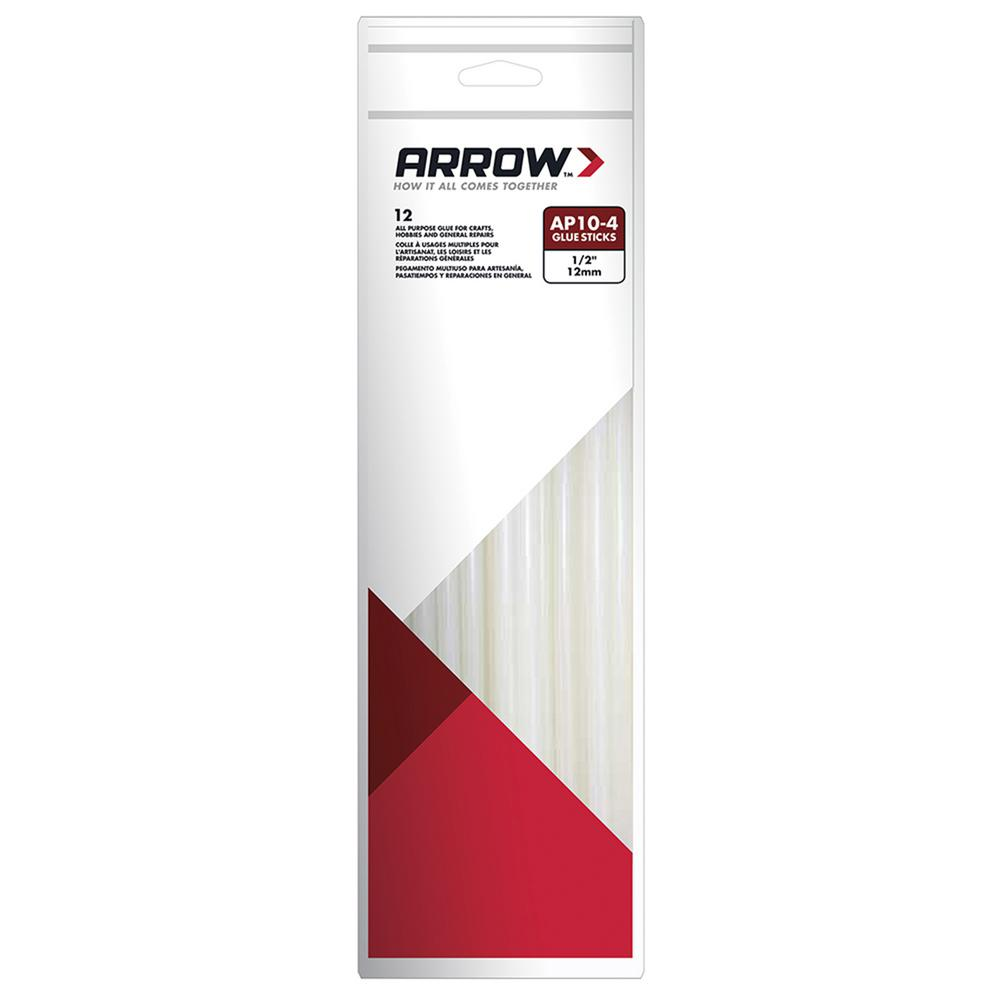 Arrow Fastener 10 in. x 1/2 in. Dia All-Purpose Clear Full Size Glue Sticks (12-Pack)