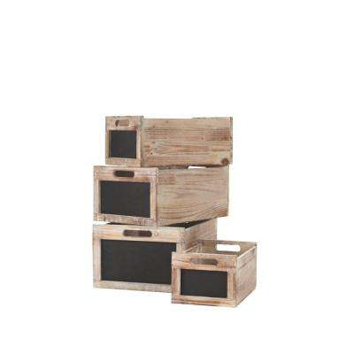 Multi-Sized Natural Stackable Crate Organizers (Set of 4)