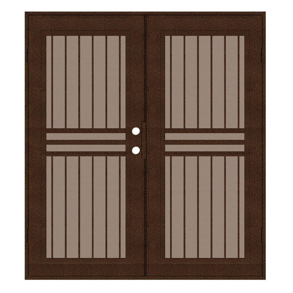 Unique Home Designs 72 in. x 80 in. Plain Bar Copperclad Right-Hand Surface Mount Aluminum Security Door with Desert Sand Perforated Screen