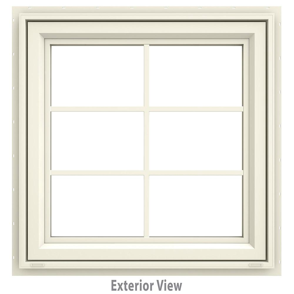 29.5 in. x 35.5 in. V-4500 Series Cream Painted Vinyl Awning