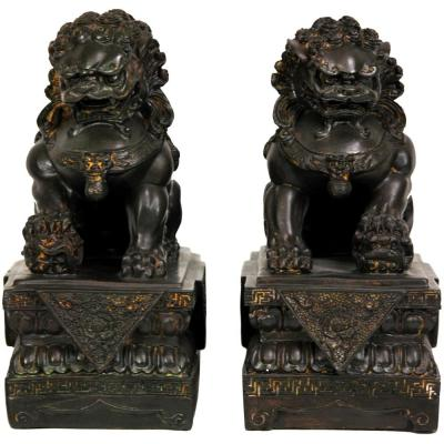Oriental Furniture 9 in. Foo Dog Decorative Statues (Set of 2)