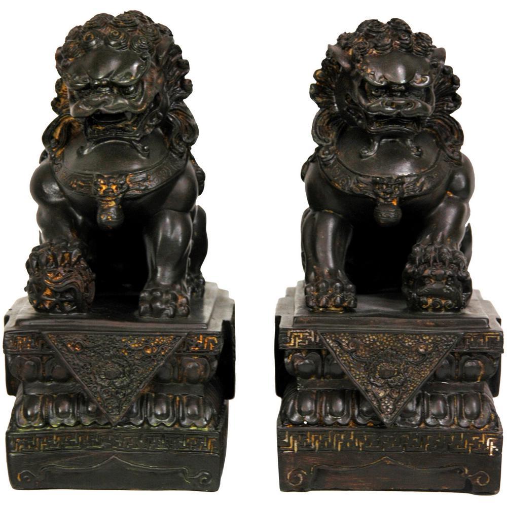 Oriental Furniture Oriental Furniture 9 in. Foo Dog Decorative Statues (Set