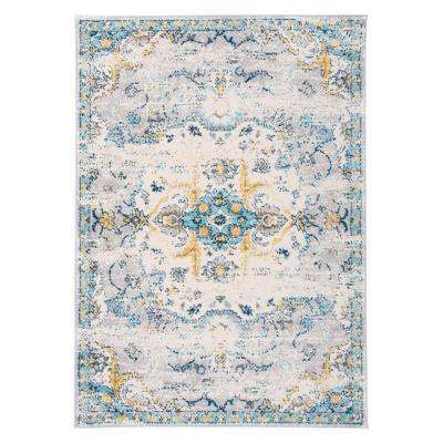 Bohemian Distressed Design 5 ft. x 7 ft. Blue Area Rug