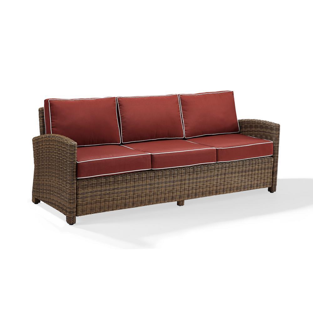 Bradenton Wicker Outdoor Sofa with Sangria Cushions