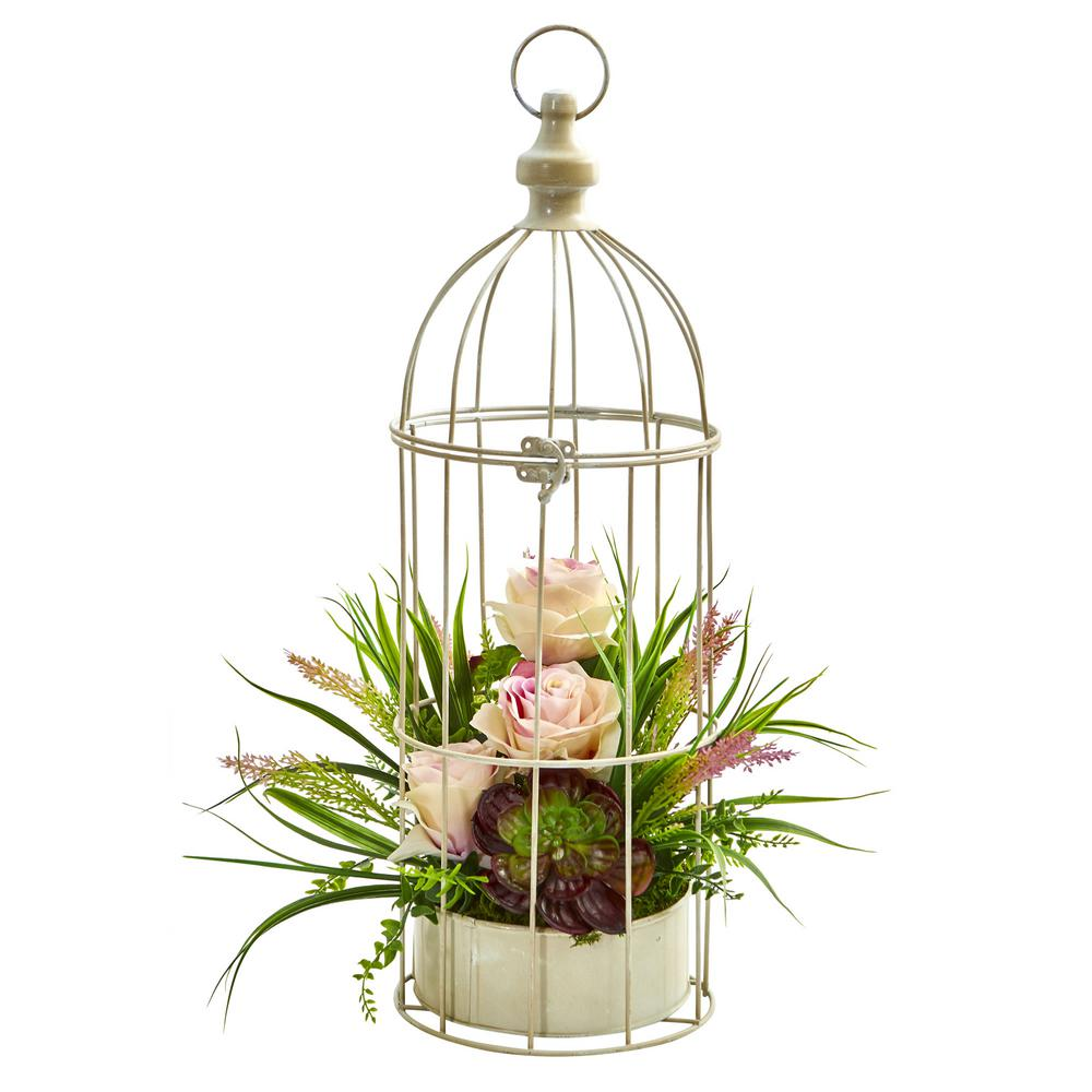 Indoor Rose, Grass and Succulent Artificial Arrangement in Bird Cage