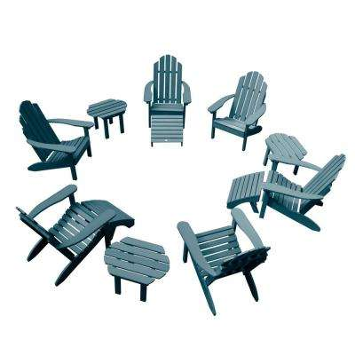 Classic Wesport Nantucket Blue 12-Piece Plastic Patio Fire Pit Seating Set