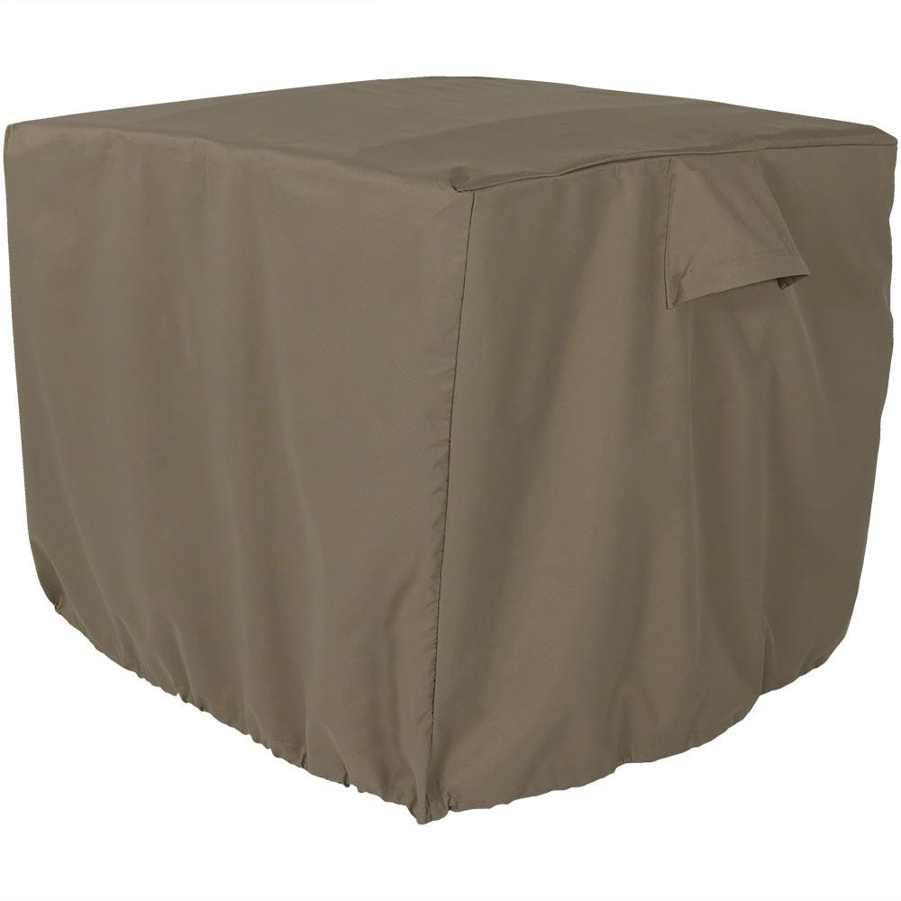 Sunnydaze Decor 34 in. x 30 in. Khaki Heavy-Duty Square Outdoor Air Conditioner Cover, Solid This square khaki air conditioner cover is thicker than standard covers, and will provide even more protection for outdoor central air conditioners. Made with 300D Polyester, this waterproof A/C cover can withstand all types of weather to prolong the life of the air conditioner. This cover is waterproof and weather-resistant and will fit square air conditioner units up to 34 in. square. With the toggle and drawstring feature, this allows the cover to adjust for the perfect fit flush against the air conditioning unit, even in windy conditions. The cover keeps water and ice as well as leaves and debris out of the inside of the unit. And, the cover is fitted with unique side vents to prevent lofting or mildew. Color: Solid.