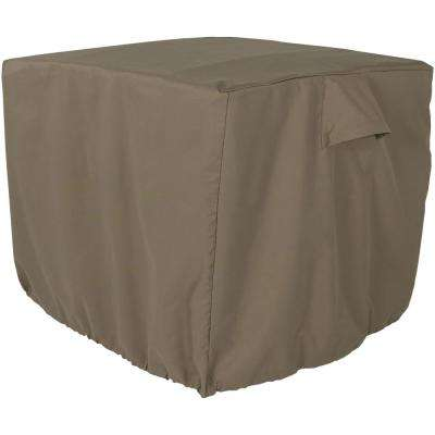 34 in. x 30 in. Khaki Heavy-Duty Square Outdoor Air Conditioner Cover