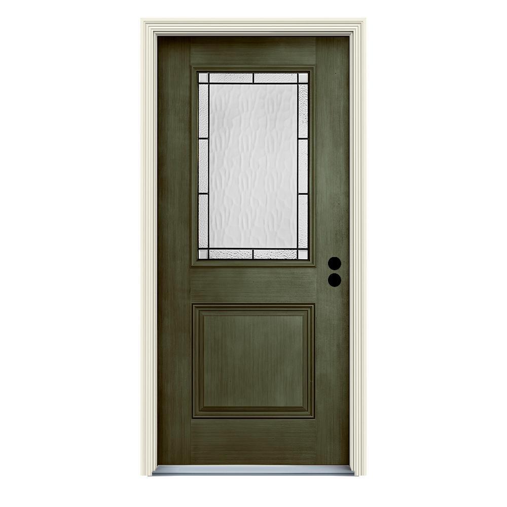 36 in. x 80 in. Left-Hand 1/2-Lite Wendover Juniper Stained Fiberglass Prehung Front Door with Brickmould