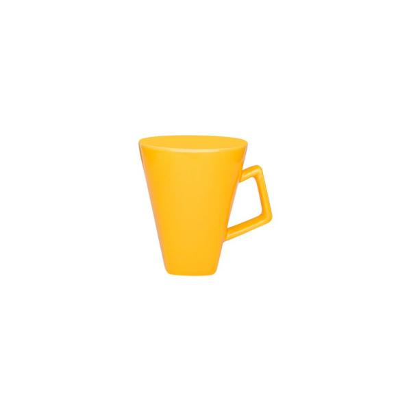 Quartier 11.84 oz. Yellow Square Beveled Earthenware Mugs (Set of 6)