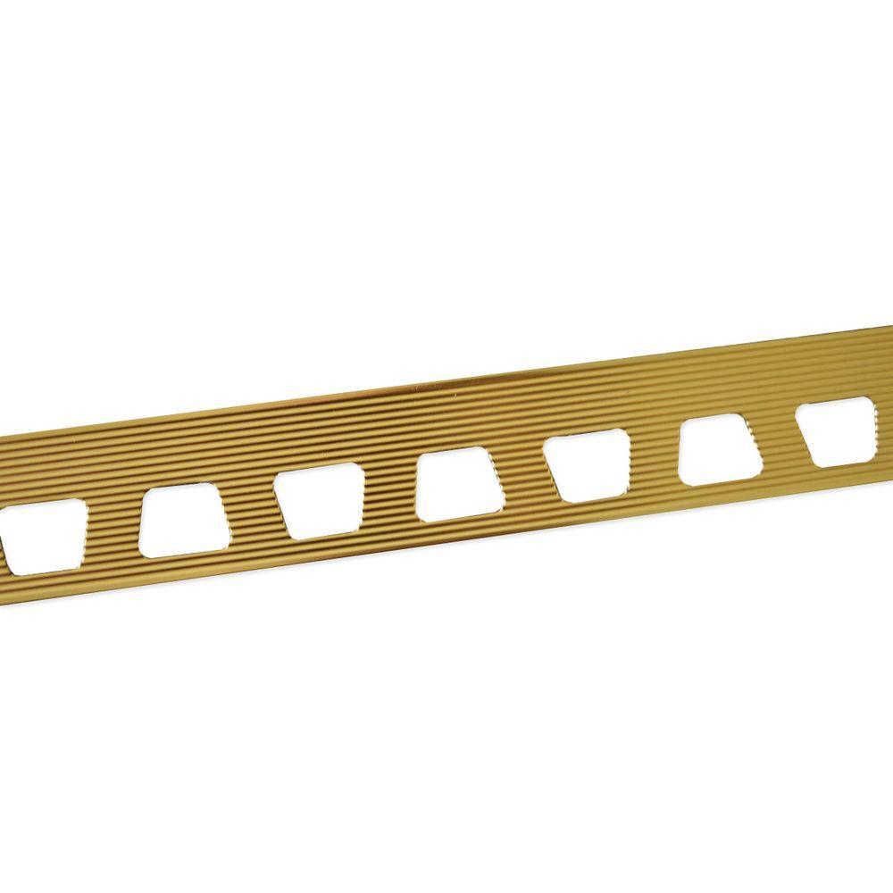 M-D Building Products Bright Brass 27/64 in. x 8 ft. Aluminum Metal Cap Tile Edging Trim-07526 ...