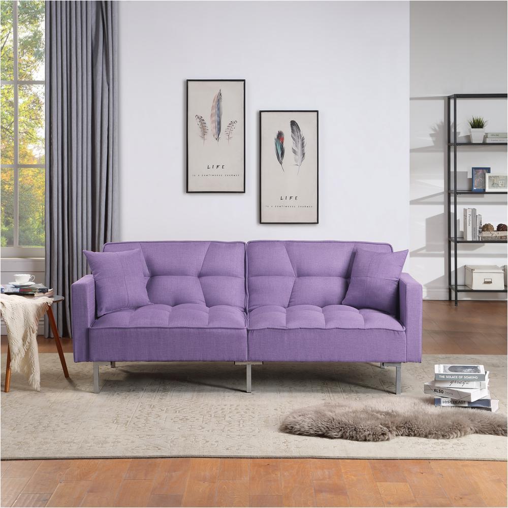 Purple Upholstery Fabric Sofa Bed