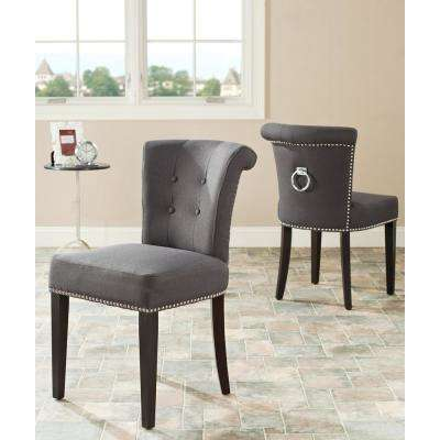 Sinclair Charcoal/Espresso Linen Blend Side Chair (Set of 2)