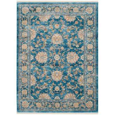 Vintage Persian Turquoise Multi 6 Ft X 9 Area Rug